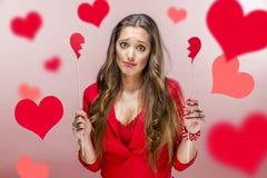 Femme au jour de valentines Photos stock