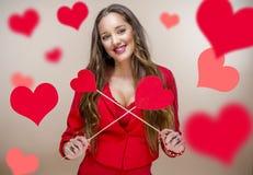 Femme au jour de valentines Photo libre de droits