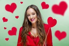 Femme au jour de valentines Photographie stock
