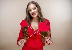 Femme au jour de valentines Image stock