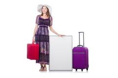 Femme au Panama se préparant au voyage Photo libre de droits