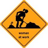 Femme au poteau de signalisation de travail, symbole Photo stock