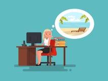 Femme au travail rêvassant au sujet des vacances d'été en mer Vecteur i illustration libre de droits