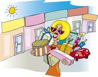 Femme aux achats illustration libre de droits