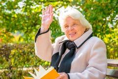 Femme aux cheveux gris heureuse de 80 ans Photographie stock libre de droits