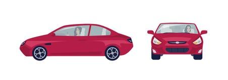 Femme aux cheveux longs de brune conduisant la voiture rouge de berline Conducteur femelle et son automobile Vues de côté avant e illustration libre de droits