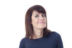 Femme aux yeux verts contrariée Photos libres de droits