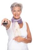 Femme avec à télécommande Photo libre de droits