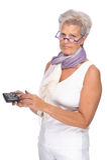 Femme avec à télécommande Photographie stock