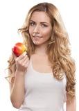 Femme avec Apple Photo stock