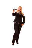femme avec binoche Images stock