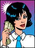 Femme avec de l'argent à disposition Photos stock