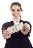 Femme avec de l'argent Image libre de droits