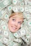 Femme avec de l'argent photo stock