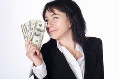 Femme avec de l'argent. Photo stock