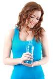 Femme avec de l'eau, d'isolement sur le blanc Photos stock