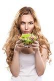 Femme avec de la salade Photographie stock libre de droits