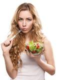 Femme avec de la salade Image libre de droits