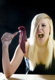 Femme avec de la viande crue Images libres de droits