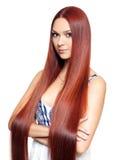 Femme avec de longs cheveux rouges Photos libres de droits
