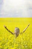Femme avec de longs cheveux se tenant sur le pré jaune de graine de colza avec les mains augmentées Concept de la liberté et du b photo libre de droits
