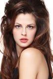 Femme avec de longs poils bruns Photo stock
