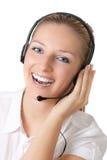 Femme avec des écouteurs photo stock