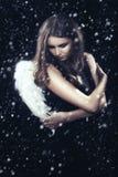 Femme avec des ailes photographie stock