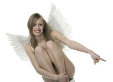 Femme avec des ailes d'ange Photo stock