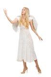 Femme avec des ailes d'ange d'isolement Images libres de droits