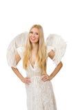 Femme avec des ailes d'ange d'isolement Image stock
