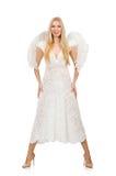Femme avec des ailes d'ange d'isolement Photos stock