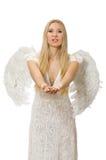 Femme avec des ailes d'ange d'isolement Photo libre de droits