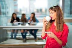 Femme avec des amis dans un restaurant, café Images stock