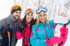 Femme avec des amis prenant le selfie sur le ski Photo stock