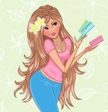 Femme avec des balais de cheveu illustration libre de droits