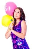 Femme avec des ballons images stock