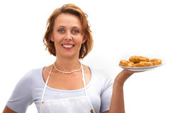 Femme avec des biscuits images stock