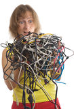 Femme avec des câbles Photos libres de droits