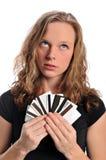 Femme avec des cartes de crédit Images libres de droits