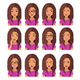 Femme avec des cheveux et des émotions de châtaigne Icônes d'utilisateur Illustration de vecteur d'avatar illustration stock