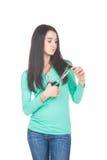 Femme avec des ciseaux Images libres de droits