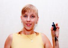 Femme avec des clés Image libre de droits
