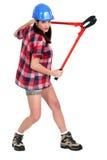 Femme avec des coupeurs de boulon Photos stock