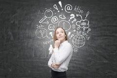 Femme avec des croquis de recherche d'Internet derrière elle sur le tableau noir Photographie stock libre de droits