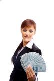 femme avec des dollars d'isolement sur le blanc Images stock