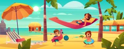Femme avec des enfants se reposant sur le vecteur de plage illustration de vecteur