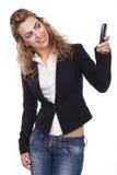 Femme avec des expressions actives Images libres de droits