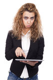 Femme avec des expressions actives Photos stock