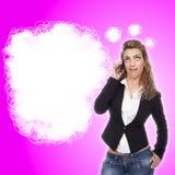 Femme avec des expressions actives Photographie stock